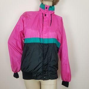 Vintage colorblock windbreaker. Pink, black, teal.